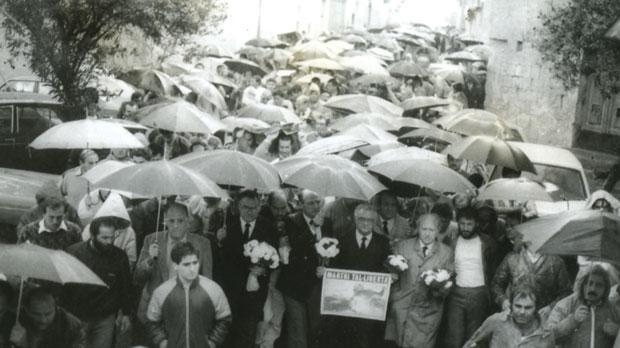 Eddie Fenech Adami leads silent protest following the murder of Raymond Caruana
