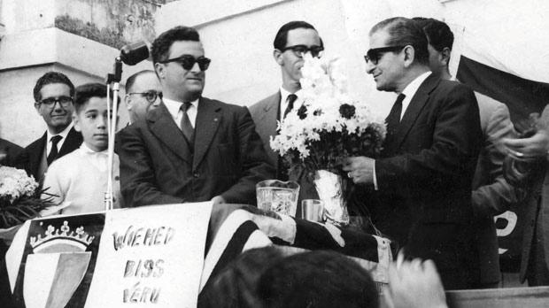 Eddie Fenech Adami addressing a mass meeting with George Borg Olivier in Birkirkara in 1961